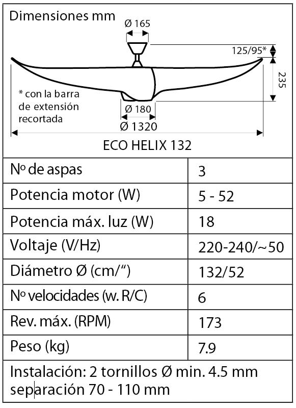 Esquema del ventilador para techo 313254 ECO HELIX blanc
