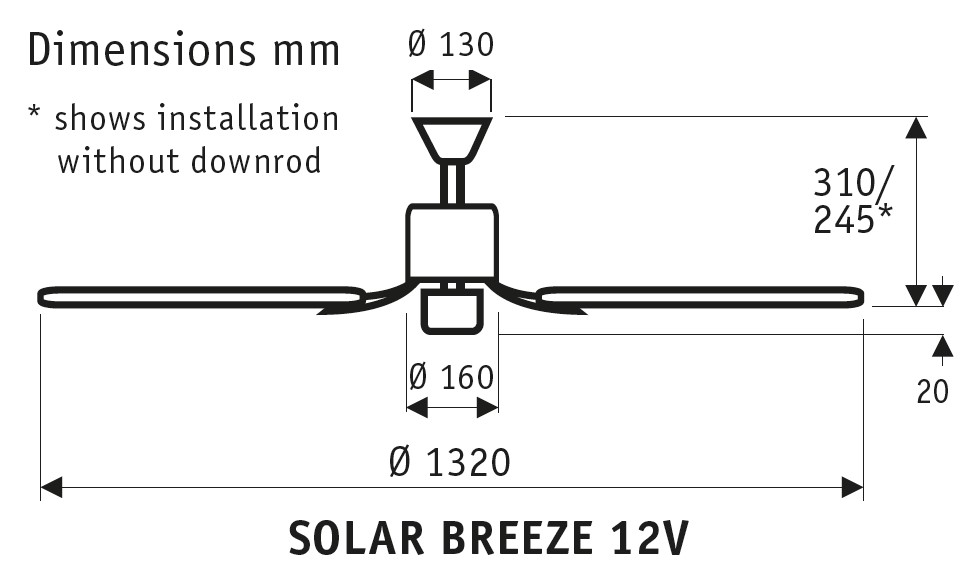 Esquema ventilador de techo Solar Breeze 12V