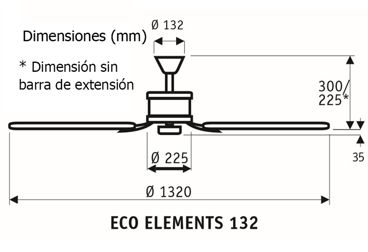 Esquema ventilador de techo CasaFan 513284 Eco Elements