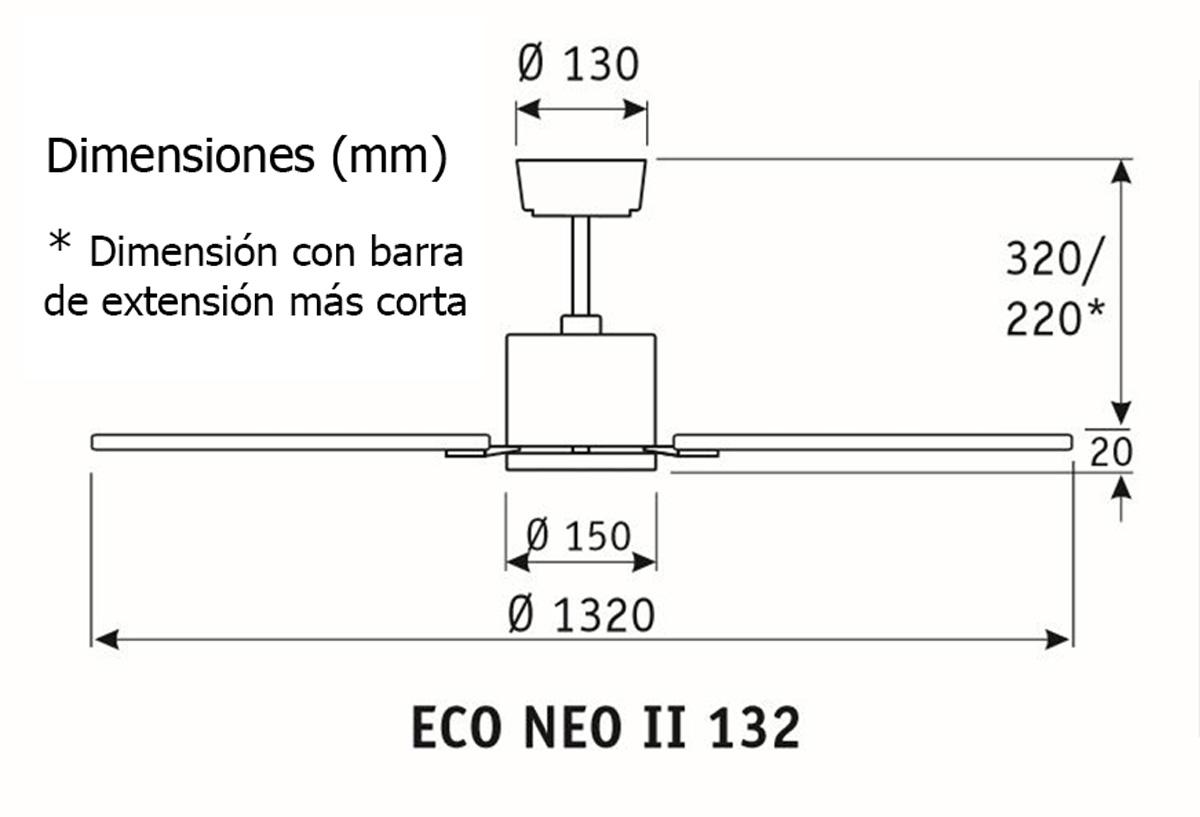 Esquema ventilador de techo CasaFan 923532 Eco Neo  132