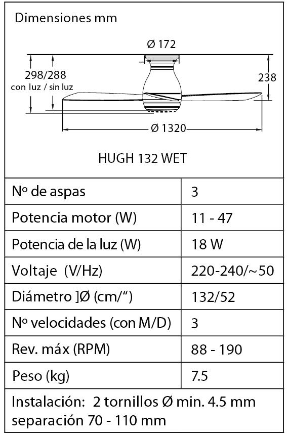 Esquema del ventilador de techo con luz Fanimation FPS8355MWW HUGH 132 WET blanco