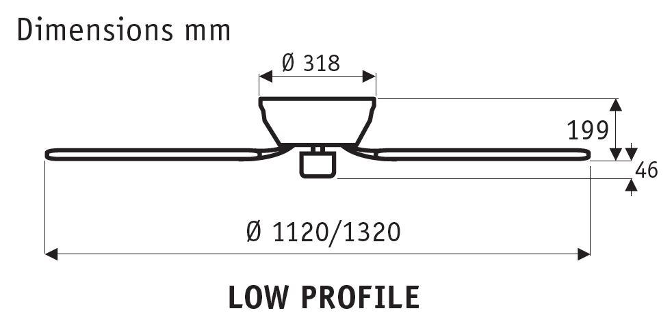 Esquema del ventilador de techo Hunter Low Profile