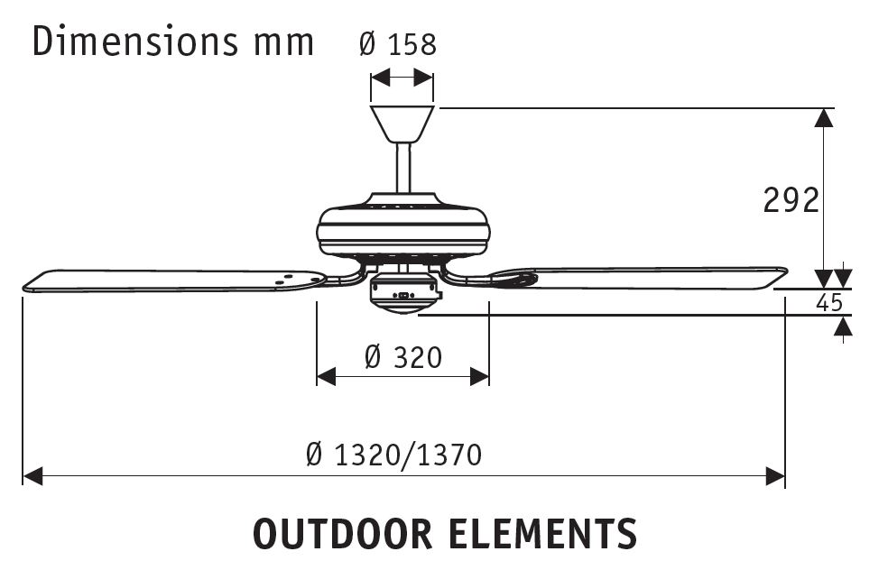 Esquema ventilador de techo Hunter Outdoor Elements 24326