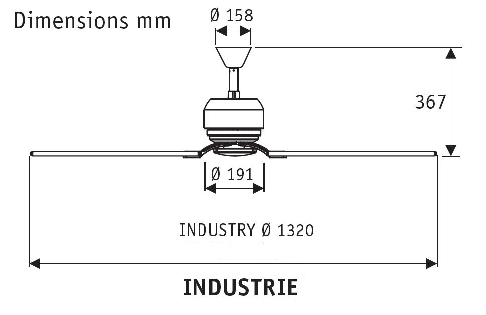 Esquema de ventilador de techo Industrie II