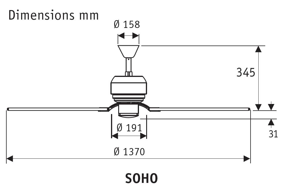 Esquema del ventilador Hunter Soho blanco / arce