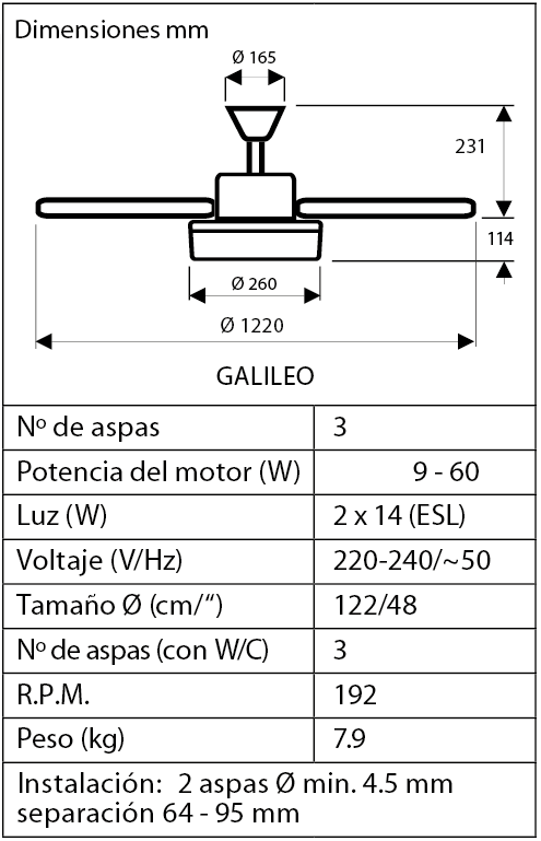 Esquema del ventilador para techo Hunter Galileo