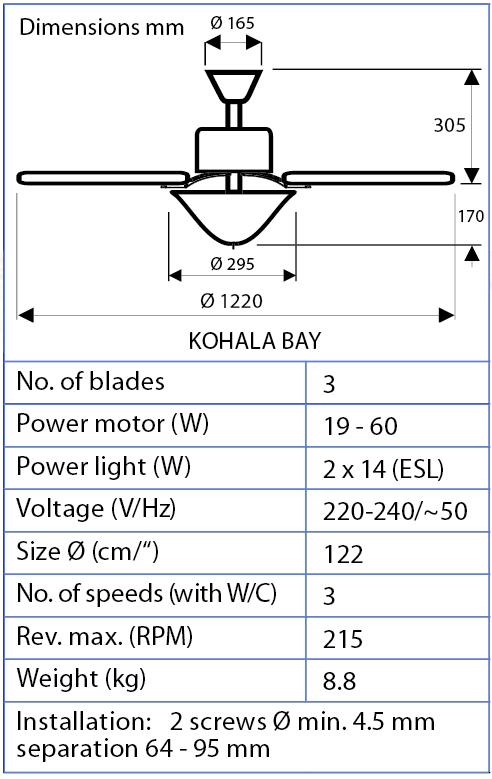 Esquema del ventilador para techo Hunter Kohala Bay