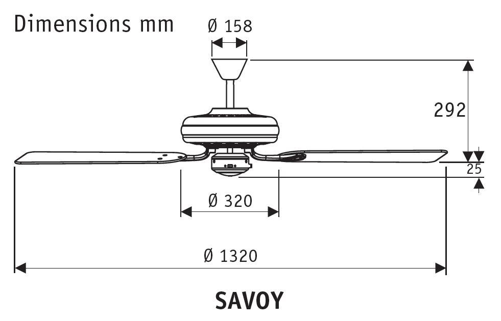 Esquema del ventilador de techo Savoy