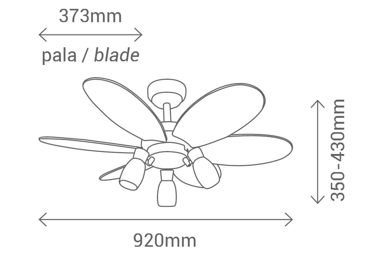 Esquema ventilador de techo con luz Sulion 072645
