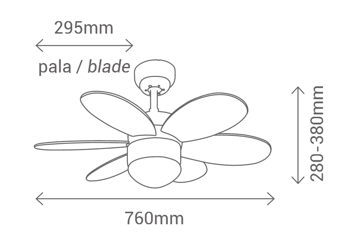 Esquema ventilador de techo con luz 075008 Rainbow LED