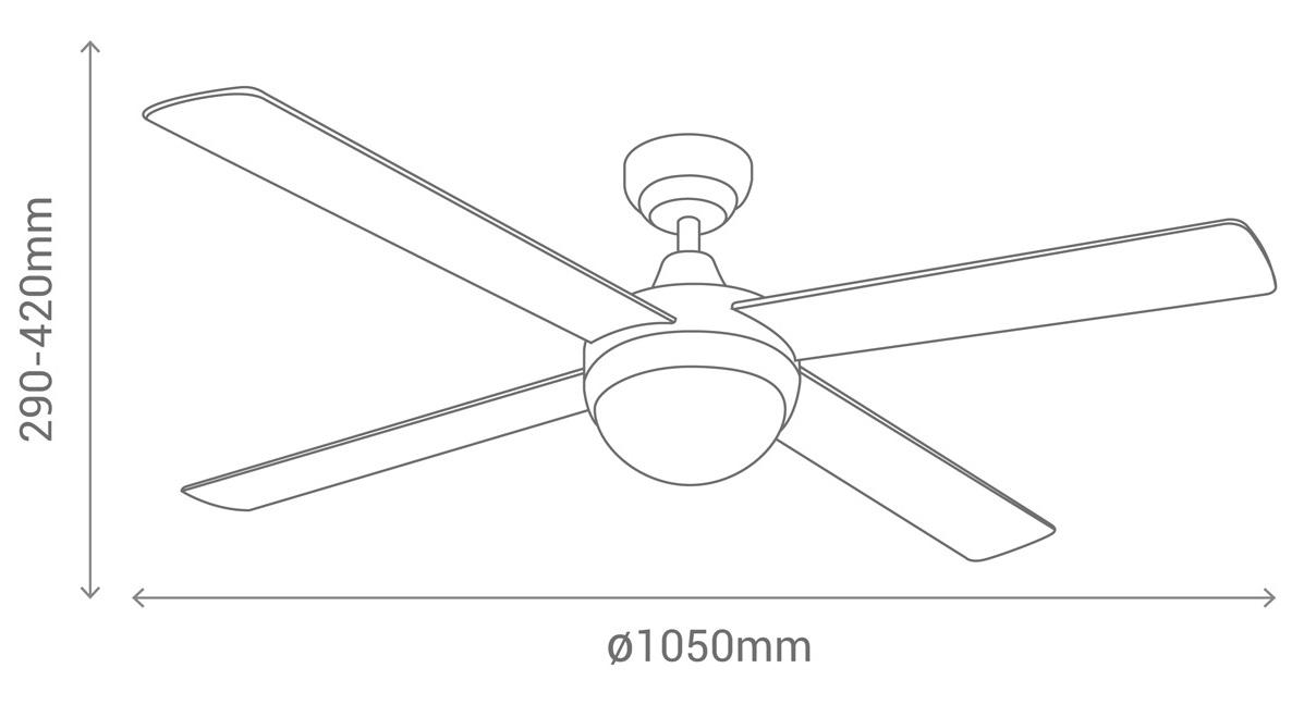 esquema del ventilador de techo blanco Sulion