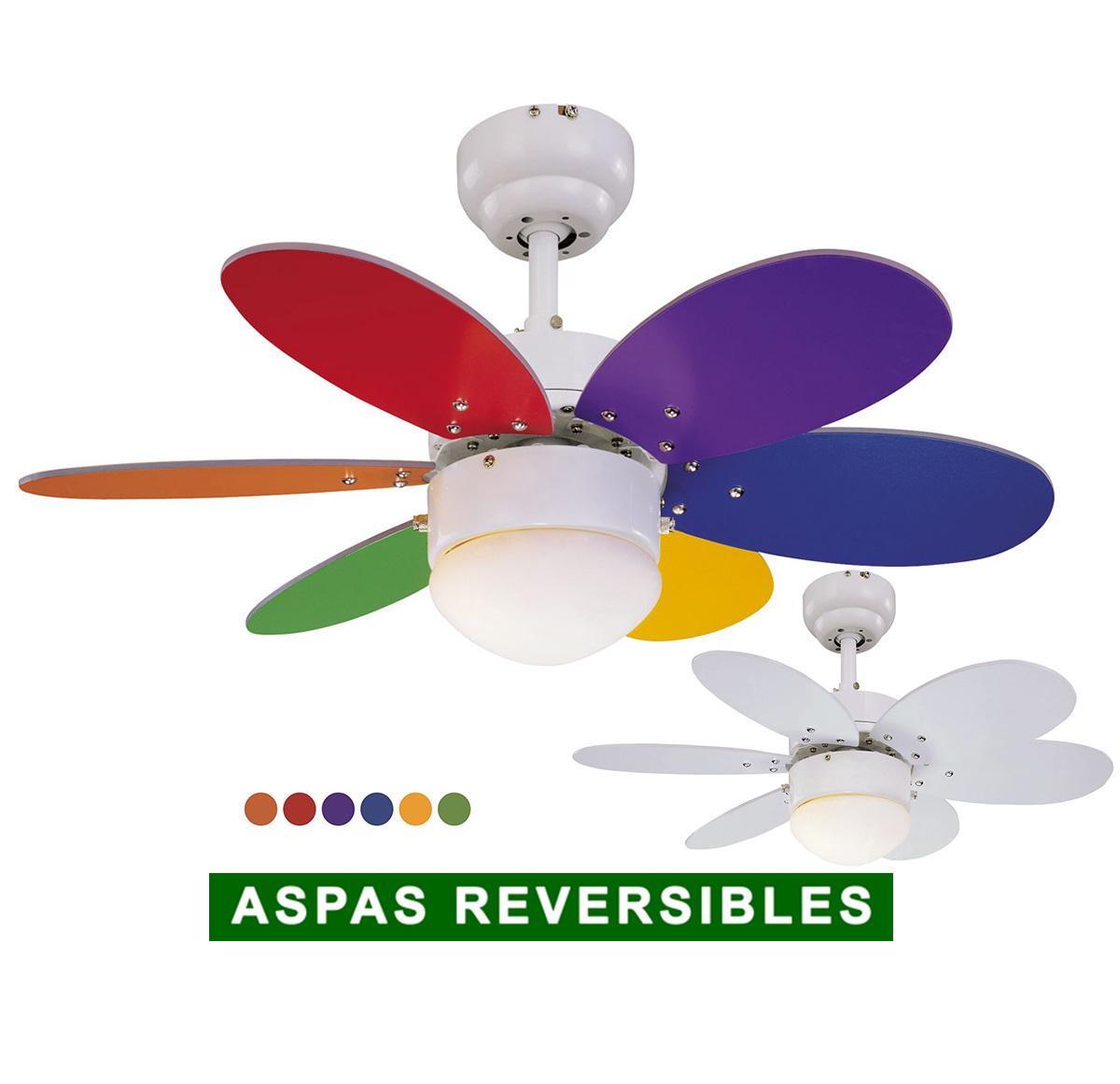 Ventilador de techo Sulion 075008 Rainbow LED aspas reversibles
