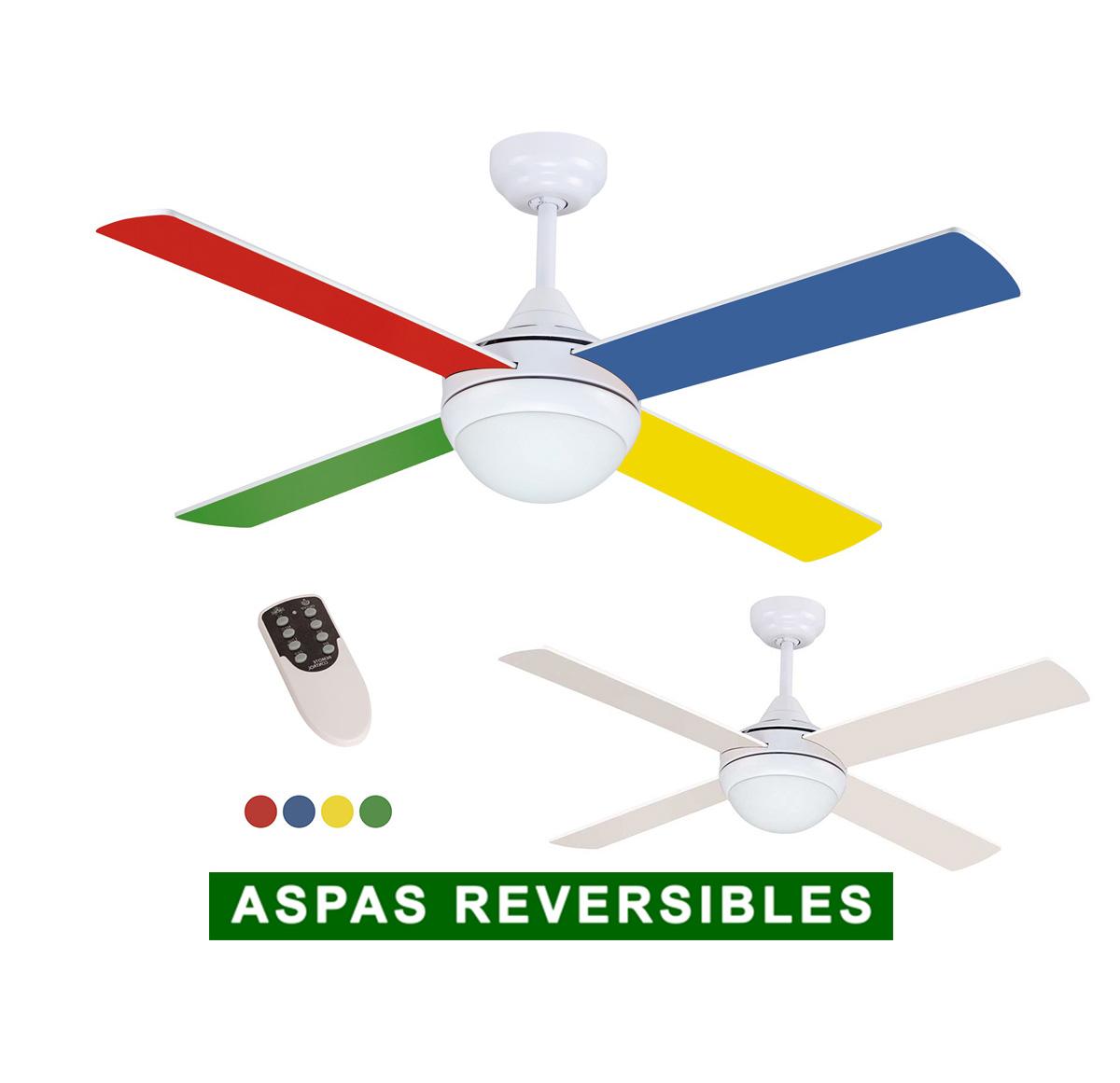 Ventilador de techo con luz sulion 075661 naif blanco o for Aspas para ventiladores