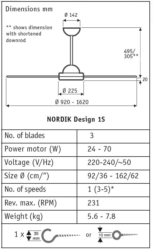 Esquema ventilador de techo Vortice 61460 Nordik Design 1S