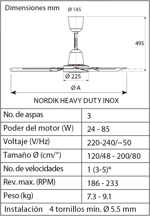 Esquema ventilador de techo Vortice 61026 Nordik HD