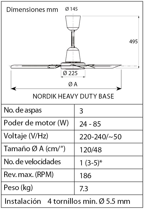 Esquema ventilador de techo Vortice 61020 Nordik HD
