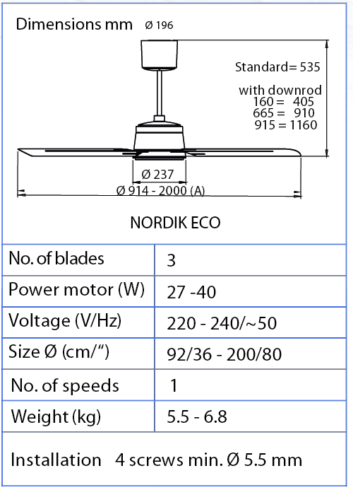 Esquema ventilador de techo Vortice 61060 Nordik ECO